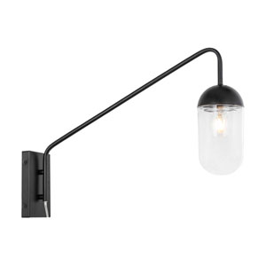 Kace Black Five-Inch One-Light Wall Sconce with Clear Glass