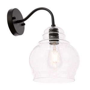 Pierce Black Eight-Inch One-Light Wall Sconce with Clear Seeded Glass