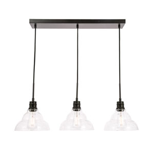 Clive Black Three-Light Pendant with Clear Seeded Glass