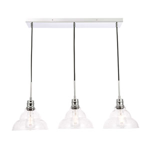 Clive Chrome Three-Light Pendant with Clear Seeded Glass