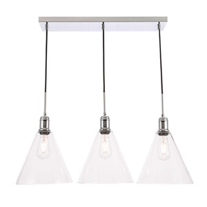 Hugh Chrome 10-Inch Three-Light Pendant