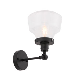Lyle Black Eight-Inch One-Light Wall Sconce with Clear Seeded Glass