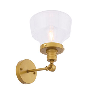 Lyle Brass Eight-Inch One-Light Wall Sconce with Clear Seeded Glass
