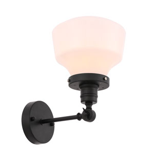 Lyle Black Eight-Inch One-Light Wall Sconce with Frosted White Glass