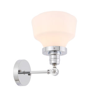 Lyle Chrome Eight-Inch One-Light Wall Sconce with Frosted White Glass