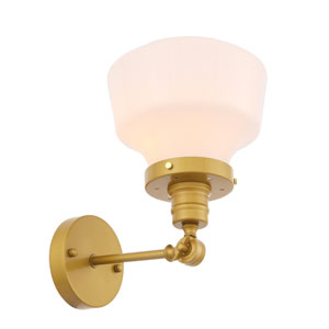 Lyle Brass Eight-Inch One-Light Wall Sconce with Frosted White Glass