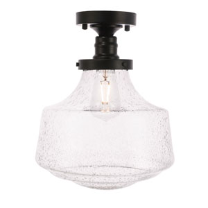Lyle Black 11-Inch One-Light Flush Mount with Clear Seeded Glass