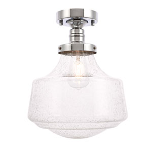 Lyle Chrome 11-Inch One-Light Flush Mount with Clear Seeded Glass