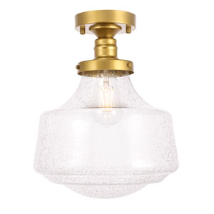 Lyle Brass 11-Inch One-Light Flush Mount with Clear Seeded Glass