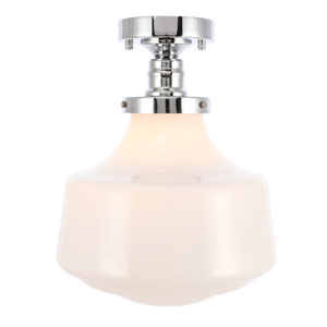 Lyle Chrome 11-Inch One-Light Flush Mount with Frosted White Glass
