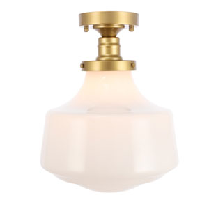 Lyle Brass 11-Inch One-Light Flush Mount with Frosted White Glass