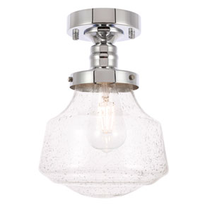 Lyle Chrome Eight-Inch One-Light Flush Mount with Clear Seeded Glass