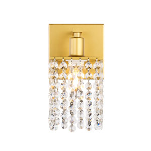 Phineas Brass Five-Inch One-Light Bath Vanity with Clear Crystals