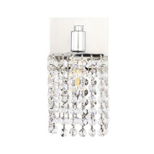 Phineas Chrome Five-Inch One-Light Bath Vanity with Clear Crystals