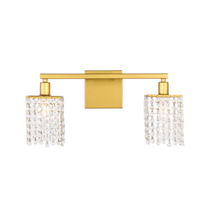 Phineas Brass Two-Light Bath Vanity with Clear Crystals