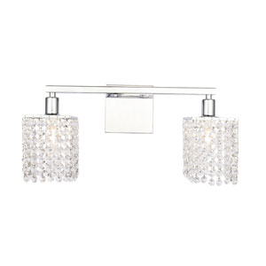 Phineas Chrome Two-Light Bath Vanity with Clear Crystals