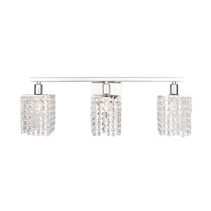Phineas Chrome Three-Light Bath Vanity with Clear Crystals