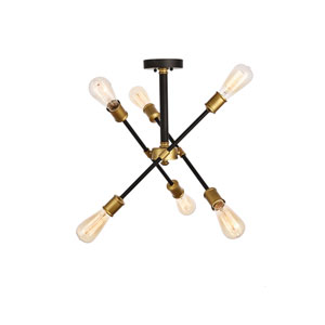 Axel Black and Brass 17-Inch Six-Light Semi-Flush Mount