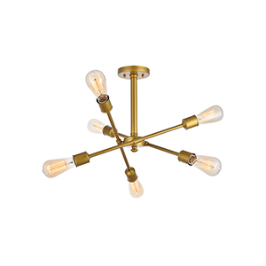Axel Brass Six-Light Semi-Flush Mount