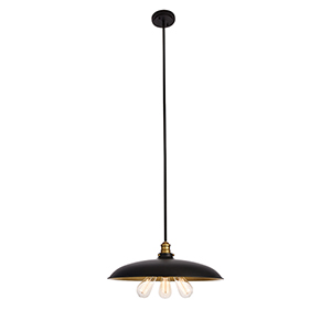 Anders Black and Brass Three-Light Chandelier