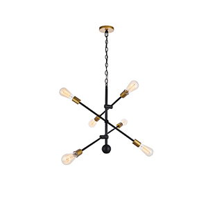 Axel Black and Brass 29-Inch Six-Light Pendant