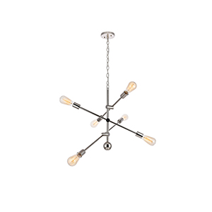 Axel Polished Nickel 29-Inch Six-Light Pendant