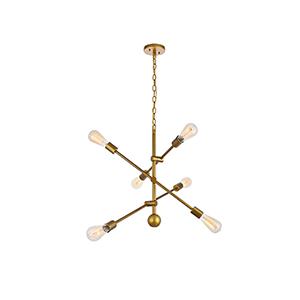 Axel Brass 29-Inch Six-Light Pendant