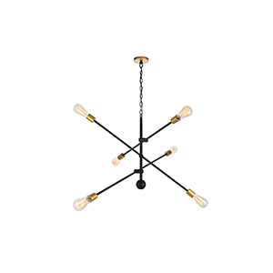 Axel Black and Brass 42-Inch Six-Light Pendant