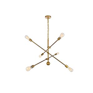 Axel Brass 42-Inch Six-Light Pendant