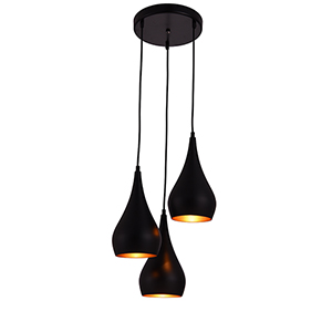 Nora Black Three-Light Pendant