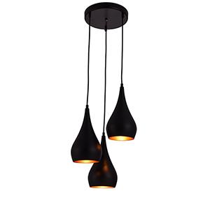 Nora Black Three-Light Pendant