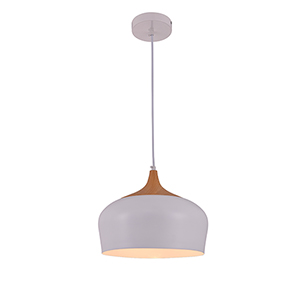 Nora Frosted White and Natural Wood One-Light Pendant