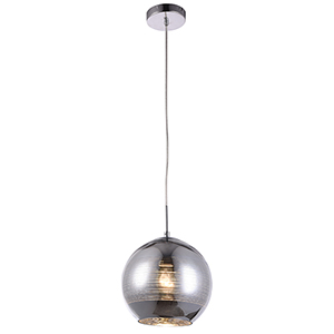 Reflection Striped Chrome Nine-Inch One-Light Mini Pendant