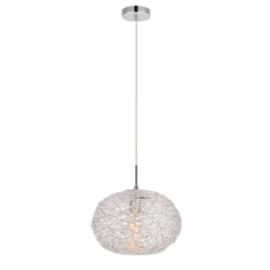 Lilou Chrome 12-Inch One-Light Pendant with Clear Glass