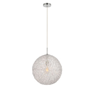 Lilou Chrome 16-Inch One-Light Pendant with Clear Glass