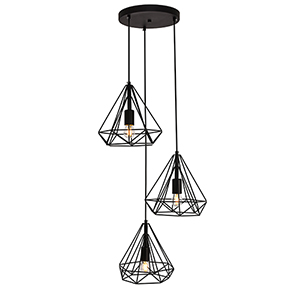 Jago Black 18-Inch Three-Light Pendant