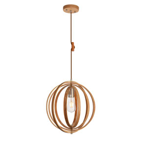 Stanton Wood Grain and Burnished Nickel 15-Inch One-Light Pendant
