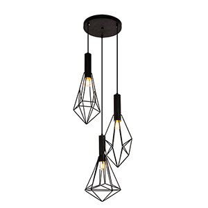 Jago Black 16-Inch Three-Light Pendant