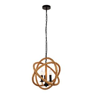 Gerrit Black and Brown 16-Inch Three-Light Pendant