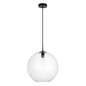 Placido Black 15-Inch One-Light Pendant