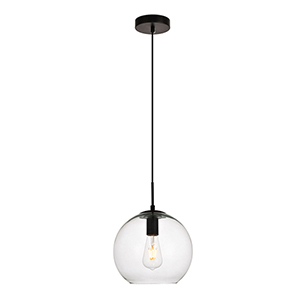 Placido Black Nine-Inch One-Light Round Mini Pendant