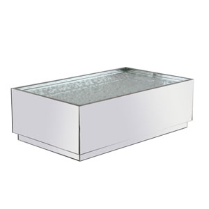 Modern Silver 48-Inch Coffee Table with Clear Royal Cut Crystal