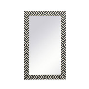 Colette Chevron 24 x 40 Inches Glass and Wood Rectangular Mirror