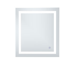 Helios Silver 30 x 27 Inch Aluminum Touchscreen LED Lighted Mirror