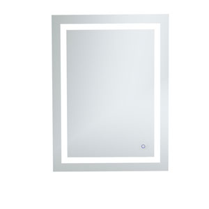 Helios Silver 36 x 27 Inch Aluminum Touchscreen LED Lighted Mirror