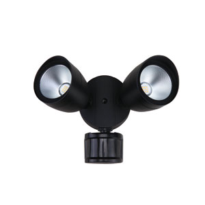 Aegis Black Seven-Inch Two-Light LED Outdoor Security Light