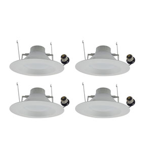 Nixon Matte White Six-Inch 4000K LED Recessed Retrofit Trim, Pack of Four