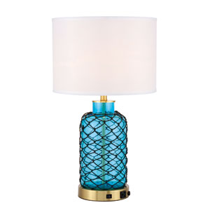 Sirena Brushed Brass and Blue One-Light Table Lamp