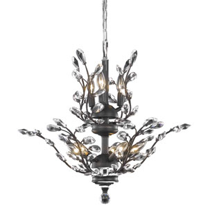 Orchid Dark Bronze Eight-Light Chandelier with Clear Elegant Cut Crystal