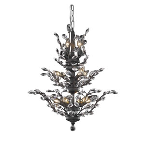 Orchid Dark Bronze 13-Light Chandelier with Clear Elegant Cut Crystal